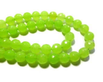 Bright Green Jade - 10mm Faceted Round Bead - Full Strand - 37 beads - lime - neon - yellow-green - chartreuse - translucent stone