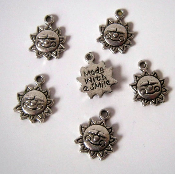 10 Antique Silver Smiley Sun Silver Charms,16x12mm, Jewelry Supplies