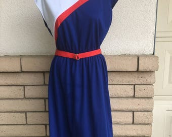 70s 80s Color Block Cap Sleeve Dress Red White Blue Size Large