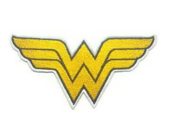 1pc Large Wonder Woman Superhero Embroidered Applique Patch. Iron On or Sew Badge for T-shirts, Jeans, Shirts. Yellow and Black 14cm wide