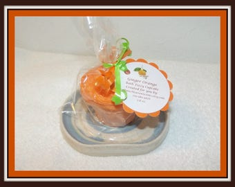Ginger Orange Cupcake Bath Fizzies, Orange Bath Fizzy, Orange Bath Soak, Fizzy Cupcake, Orange Cupcake, Bubble Frosting, Bubble Bar