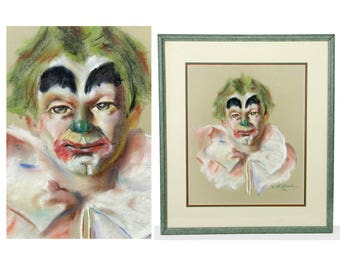 "clown art, original pastel portrait, mid century, original, wall hanging, 24"", signed, beautifully rendered, 1960s, framed, matted"