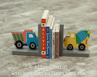 Construction Bookends, Wooden Dump Truck Cement Truck Bookends - Custom Created to Coordinate with Trains, Planes and Trucks bedding set