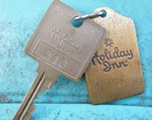 Vintage Holiday Inn Hotel Room Key and Brass Fob #510