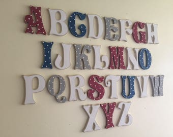 Full Wooden Alphabet - Hand Painted Wooden Letters Set - 26 letters - 10cm high, Storybook