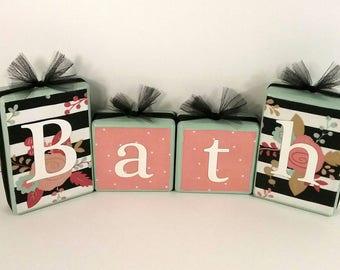 Bathroom Signage - Bath Sign - Bath Blocks - Bathroom Decor - Wooden Blocks - Housewarming Gift - Shelf Sitter - Bathroom Wall Art