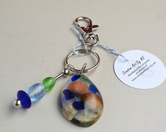 Clearance Sale Genuine Sea Glass set in Resin Beach theme Silver Key Chain with Hook Clip