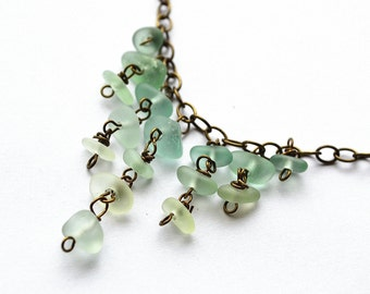 "Soft Green California Seaglass Waterfall Bib Chandelier Brass 20 1/2"" Necklace"