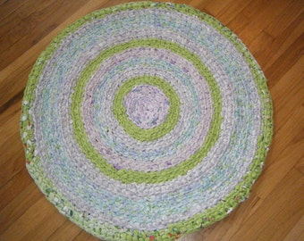 Handmade Rag Rug in Lavender and Lime Green - for Etsy