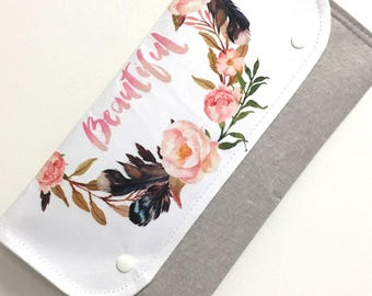 Diaper Clutch Nappy Bag Wallet - Designer fabric 'Beautiful' on linen with Waterproof Lining - Baby Shower Gift