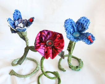 Desk Accessory, Free Standing Fiber Art Flower,  Art for the office, Portable Garden for Home Decor, Whimsical Centerpiece