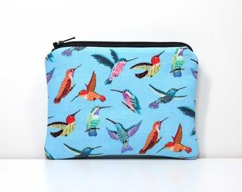 Zipper Coin Purse - Hummingbirds on Blue - Little Zipper Pouch Little Pouch Small Gadget Case - Small Wallet - Humming Birds