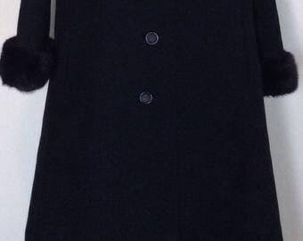 1960's Black wool mink trimmed winter coat