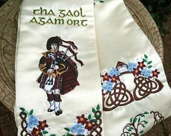 Scottish Wedding Hand Fasting Cloth Embroidered With Folk Motives Bagpiper, Highland Dancer &Celtic Knots