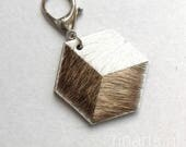 Geometric bag charm / keychain 3D Hexagon The CUBE  made from white, light and medium brown cow hair leather. Gift under 15