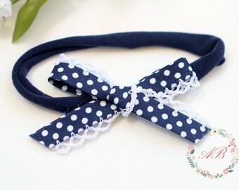 Baby Bow Headband - Navy Bow Headband - Hand Tied Bow Headband - Nylon Headband - Newborn Bow Headband