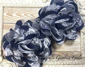 "Denim Flower, Denim and White Lace Flower, Lace Flowers, Shabby Chic 4"" Full and Fluffy, Large Chiffon Flowers, DIY Flower"