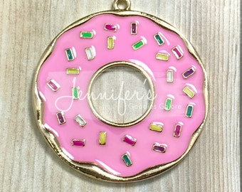 45*43mm,  Donut Pendant, Rhinestone Pendant, Food Pendant, Donut Necklace, Chunky Necklace, DIY Necklace, Pink Donut Pendant