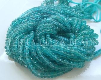"13"" strand aqua blue APATITE faceted gem stone rondelle beads 4mm"