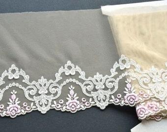 Ivory Floral Lace Trim, Pink Beige Lace, Baby Clothes, Wedding Dress Lace, Ivory Bridal Lace Trim, Wedding Veils, Mantilla, Lingerie, Dolls