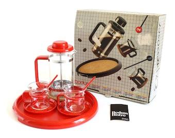 Bodum Espresso Set Bistro French Press, Espresso Glasses, Red Plastic Demitasse Spoons, Tray, Coasters