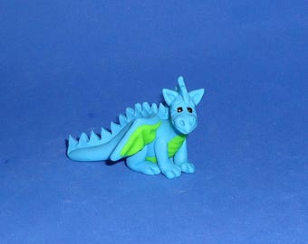 Polymer Clay Small Teal and Lime Green Dragon