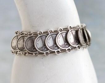 Paris Coins Bracelet - Vintage Souvenir From France Links Bracelet - Landmarks Notre Dame Eiffel Tower Louvre