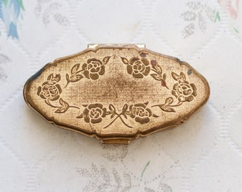 Pill Box - Golden Flower Motif - Made in England By Stratton - Small Medicine Box with 2 Sections