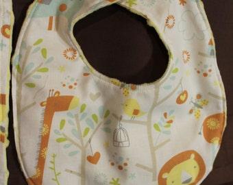 Safari Yellow Bib and Burp Cloth Fits 3+ Months - Ready To Ship