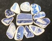 Scottish Beach Pottery, Perfect for Jewelry Making, Flawless Patterned Blue & White for Pendants, Charms, Earrings, Craft or Mosaics