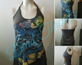 Recycled upcycled Halter top dress Made from used liscenced evil batman DC comics mens shirt Size small