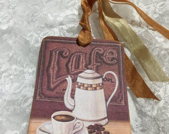 XL Gift Tag Set Cafe ( Set of 6 ) Notecards, Stationery, Scrapbooking, Journals, Gift Item, Gift Wrapping