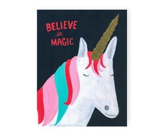 Unicorn Believe In Magic Fine Art Print, 8x10