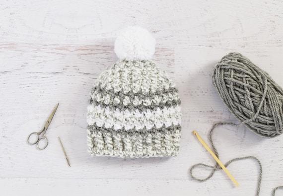 Crochet Hat PATTERN - Stripe Pom Beanie - Crochet beanie tutorial Instant Download PDF digital file