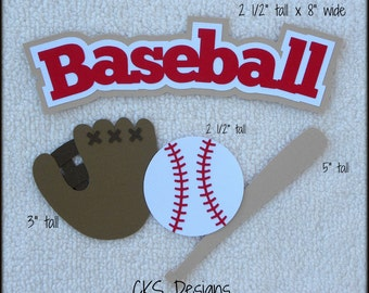 Die Cut Baseball Title Glove Bat Ball Scrapbook Page Embellishments for Card Making Scrapbook or Paper Crafts