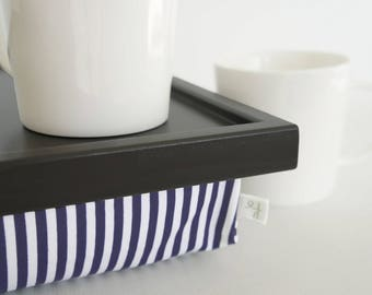 Living room interior tray with striped pillow, Laptop Lap Desk, stand- black tray with navy and white striped pillow