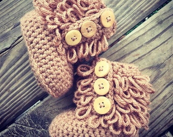 Crochet Baby Girl Brown Furrylicious BOOTS  ~ Sizes: 0-12 Mos ~ Super Cute for Winter