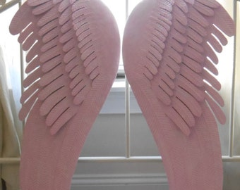 Shabby Pink Angel Wings Decor / Large Angel Wings / Nursery Room Decor / Girly Pink Angel Wings / Shabby Home Decor / Home And Living