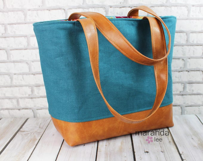 Extra Large Lulu Tote Overnight Diaper Bag Teal Linen  READY to SHIP