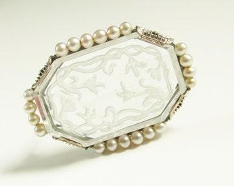 Antique Vintage Krementz Intaglio Rock Crystal Brooch Art Nouveau