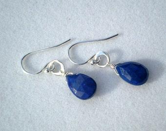 Lapis Lazuli Briolette Earrings - Sterling Silver - Deep Royal Blue Gemstone Earrings - December Birthstone Earrings
