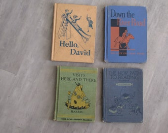 Vintage Children's School Books - hardcover - illustrated - set of four