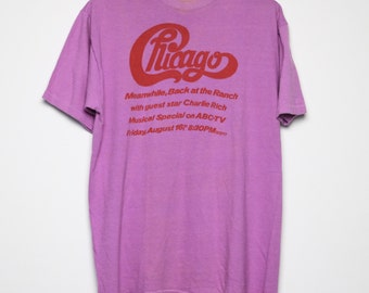 Chicago Shirt Vintage tshirt 1974 Back At The Ranch With Special Guest Charlie Rich ABC TV Special concert tee 1970s Original