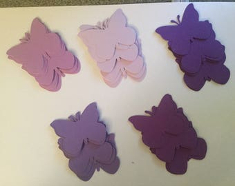 50 Shades of Purple 2 Inch Paper Butterfly Punch Die cuts Cutout Confetti Embellishments Scrapbooking