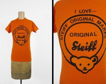 Vintage Steiff Teddy Bear T-shirt Orange 80s Toy Collector Tee - Small / XS