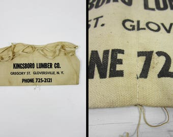 Vintage Tool Apron Gloversville NY Kingsboro Lumber Co Cloth Work Tie Apron