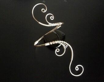 Silver bracelet, Cuff Bracelet, Arm cuff, Spiral Arm Band, Arm Bangle, Wire Wrapped  jewelry