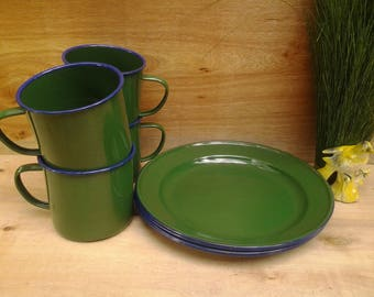 Vintage enamelware dishes - green enamelware - graniteware - camping dishes - enamelware plates - enamelware mugs - outdoor dining