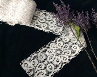 Vintage Decorative Light  Ivory Lace, Vintage Lace, Lace Yardage, Vintage Supplies , Country Lace, Wedding Lace, Bridal Lace