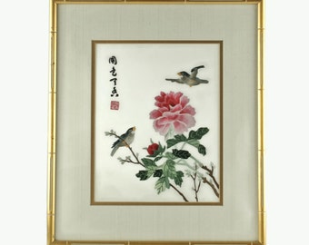 Vintage Hand Embroidered Signed Silk Needlework Featuring Peonies and Birds